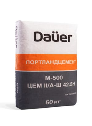 Цемент М500 Д20 (ЦЕМ II/А-Ш 42,5Н), мешок 50 кг, ТМ «DAUER»
