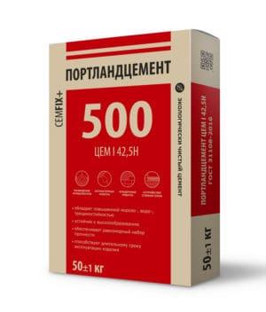 Цемент М500 Д0 (ЦЕМ I 42,5Н), мешок 50 кг, «CEMFIX»